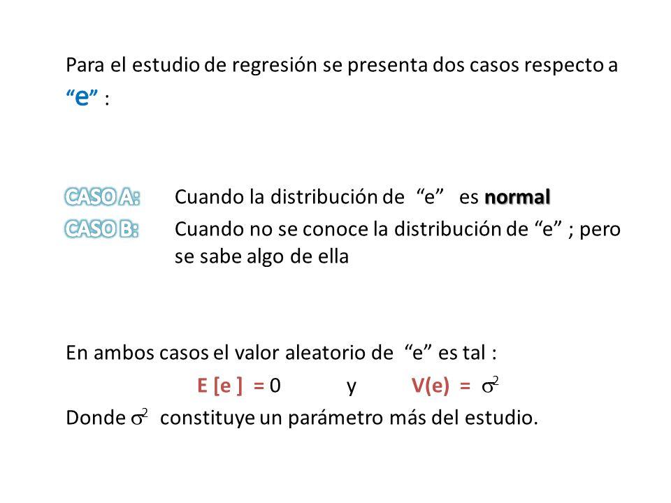 Para el estudio de regresión se presenta dos casos respecto a e : CASO A: Cuando la distribución de e es normal CASO B: Cuando no se conoce la distribución de e ; pero se sabe algo de ella En ambos casos el valor aleatorio de e es tal : E [e ] = 0 y V(e) = 2 Donde 2 constituye un parámetro más del estudio.